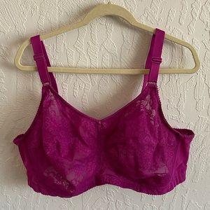 Elila hot pink size 50F no wire no pad lace bra